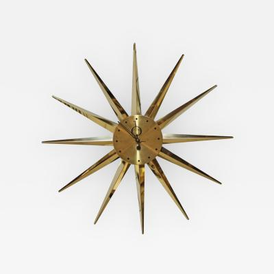 George Nelson Brass 12 Sunburst Wall Clock in the Manner of George Nelson
