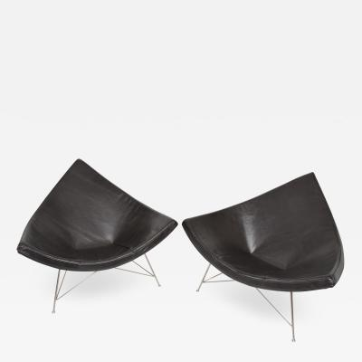 George Nelson Early GEORGE NELSON by Herman Miller Green Leather Classic Coconut Lounge Chairs