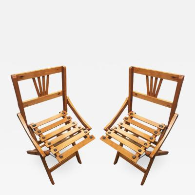 George Nelson George Nelson Inspired Child Size Folding Slat Wood Chair Set of Two
