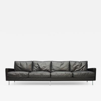 George Nelson Large George Nelson Loose Cushion Four Seat Sofa in Black Leather