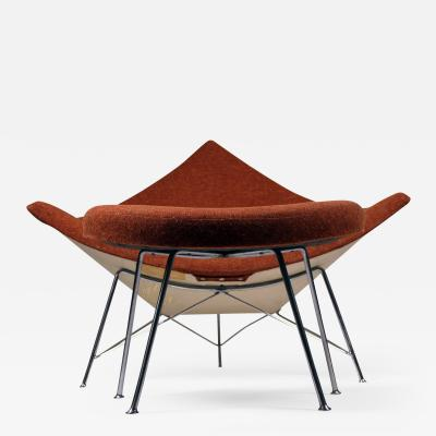 George Nelson Museum Quality Early Coconut Chair Ottoman by George Nelson for Herman Miller