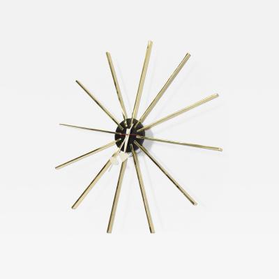 George Nelson Original George Nelson for Howard Miller Modern Spike Sunburst Brass Clock 1960s