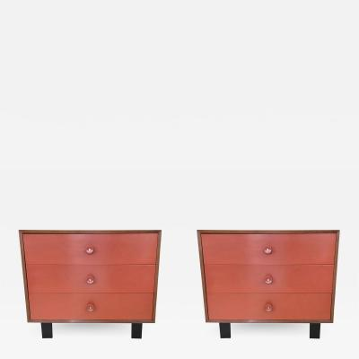 George Nelson Pair of Coral Front Dressers by George Nelson for Herman Miller