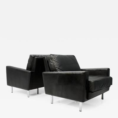 George Nelson Pair of George Nelson Loose Cushion Lounge Chairs in Black Leather