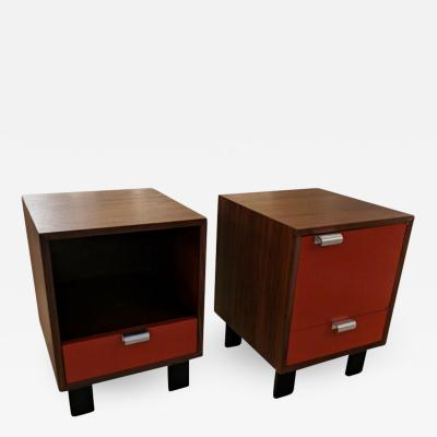 George Nelson Pair of George Nelson walnut and lacquered bedside tables with J pulls