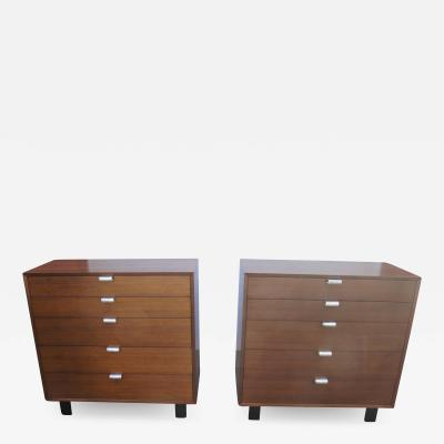 George Nelson Pair of Walnut Dressers Model 4620 by George Nelson for Herman Miller