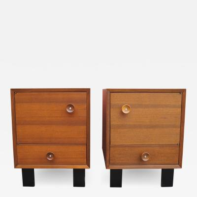 George Nelson Pair of Walnut Nightstands Model 4617 by George Nelson for Herman Miller