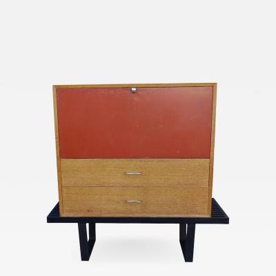 George Nelson Set of 2 Early Midcentury Modular Cabinet on Platform Bench by George Nelson