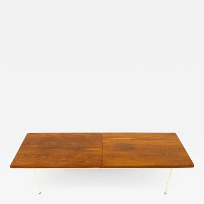 George Nelson Style Mid Century Walnut Laminate and Steel Expanding Coffee Table