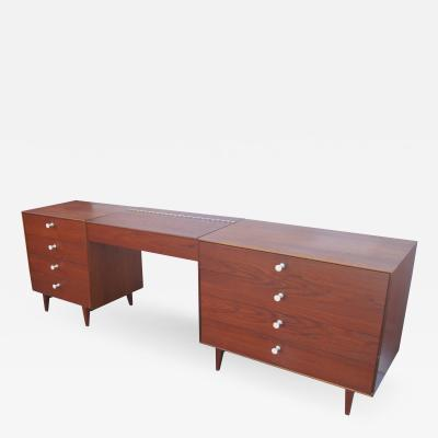 George Nelson Walnut Double Dresser with Vanity by George Nelson for Herman Miller