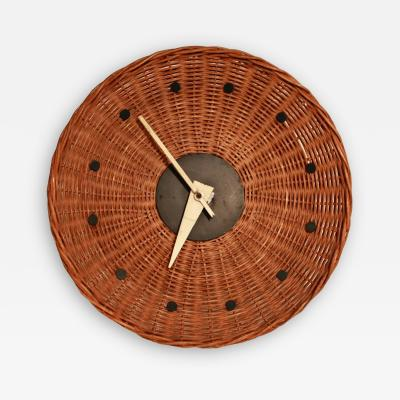 George Nelson Woven Rattan Basket Clock by George Nelson for Howard Miller 1950s Rare