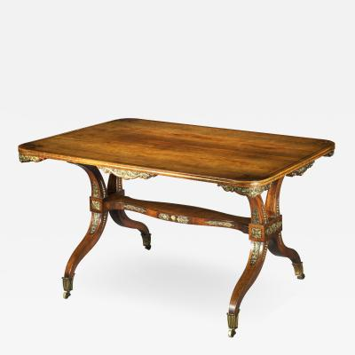 George Oakley Regency Rosewood Ormolu Mounted Library Table attributed to George Oakley