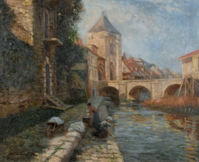George Plasse Two Figures Along a River Aix en Provenance