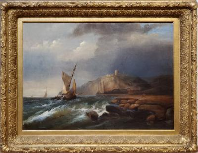 George Robert Bonfield Ships Sailing Storm Waters Along The Coast by George Robert Bonfield