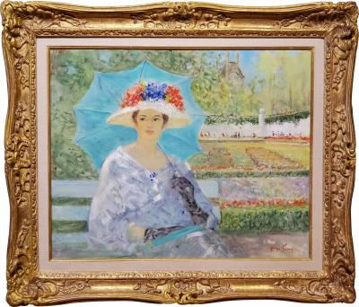 George Shawe Elegant Woman enjoying an Afternoon in Paris by George Shawe