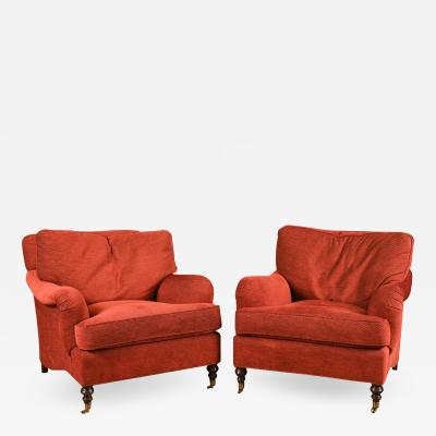 George Smith Pair of English George Smith Style Lounge Chairs