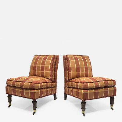 George Smith Pair of English Slipper Chairs