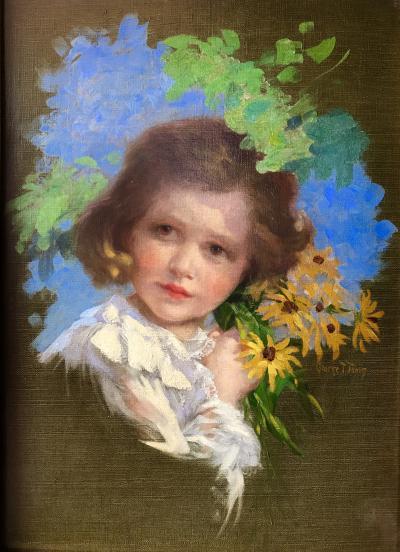 George T Tobin Girl with Black eyed Susans