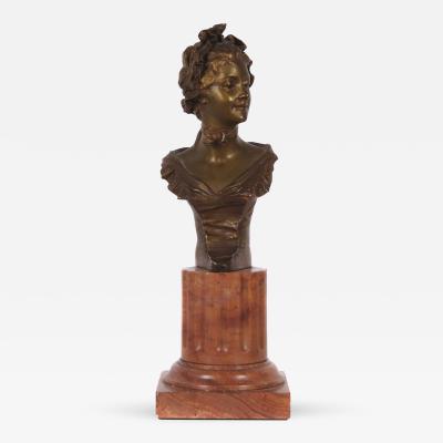 George Van der Straeten Petite French Art Nouveau Period Bronze by van der Straeten