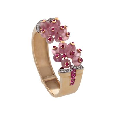 George Verger French Retro Diamond Ruby Rose Quartz Platinum and Gold Bracelet
