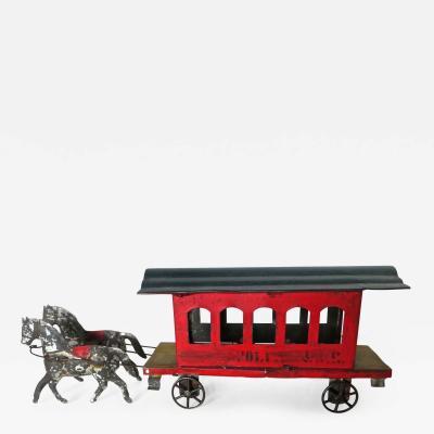 George W Brown American Tin Toy Trolley circa 1880