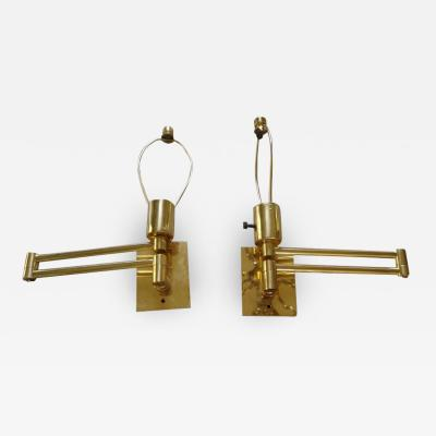 George W Hansen Pair of Hansen Brass Swing Arm Wall Lamps