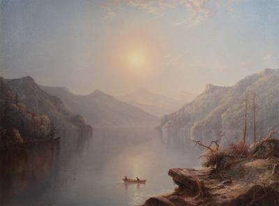 George Wattles Waters River Landscape at Daybreak 1865