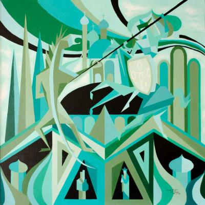 George Zafereo A Modernist geometric figural painting on canvas by G Zafero Green tones