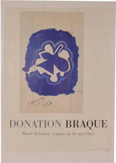 Georges Braque 1965s Lithography by Georges Braque for Louvre Museum Printed by Mourlot