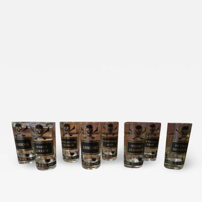 Georges Briard Whimsical Set Eight Georges Briard Name Your Poison Glasses