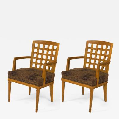 Georges Deveche Georges Deveche pair of refined carved oak pair of chairs