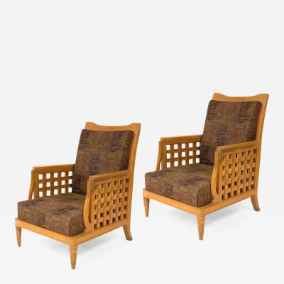 Georges Deveche Georges Deveche pair of refined carved oak pair of comfy chairs