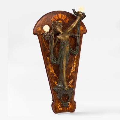 Georges Flamand Bronze Nude lighted Sconce on Marquetry Easel