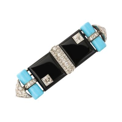 Georges Fouquet Art Deco Turquoise Onyx and Diamond Brooch by Georges Fouquet