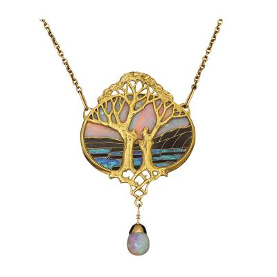 Georges Fouquet Art Nouveau Gold and Opal Pendant by Georges Fouquet