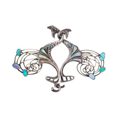 Georges Fouquet Georges Fouquet Art Nouveau Opal and Silver Peacock Cloak Clasp