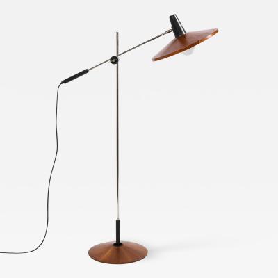 Georges Frydman Mid Century Wood Chrome Floor Lamp by Georges Frydman for Temde Leuchten