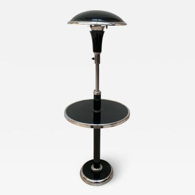 Georges Halais Art Deco Floor Lamp with Side Table Chromed and Black Lacquer France circa 1930