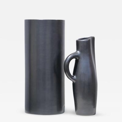 Georges Jouve Vase Cylindre and Pichet Noir Ceramic Vase andPpitcher