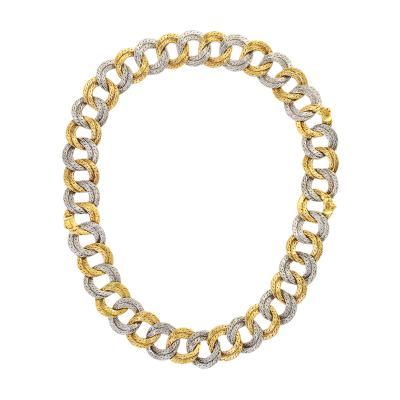Georges L enfant Two Toned Gold Link Necklace by Georges Lenfant