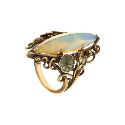 Georges Le Turcq French Art Nouveau Opal Plique Jour Enamel and Gold Ring