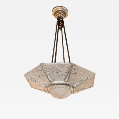 Georges Leleu Art Deco Cubist Silvered Bronze and Frosted Glass Chandelier by Georges Leleu