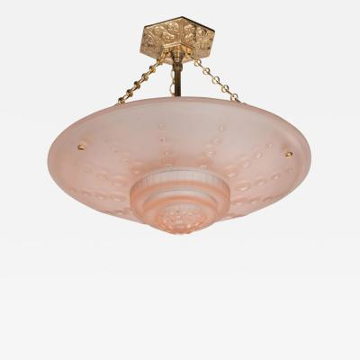 Georges Leleu French Art Deco Inverted Dome Chandelier by Georges Leleu in Frosted Rose Glass