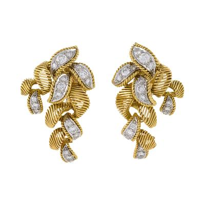 Georges Lenfant Mid 20th Century Diamond and Gold Earrings by George Len Font