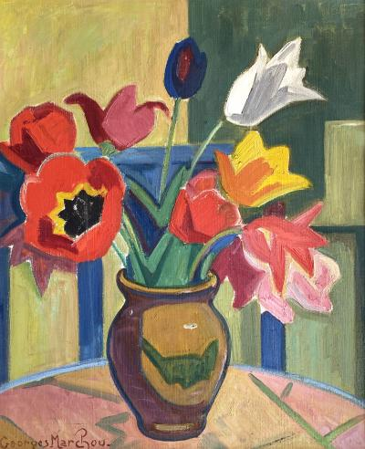 Georges Marchou Poppies and Tulips