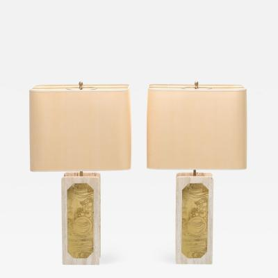 Georges Mathias George Matthias Pair of Brass Etched and Travertine Lamps 1970s
