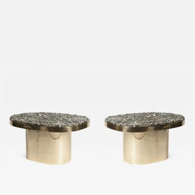 Georges Mathias Pair Of Side Tables with pyrites stones Signed Georges Mathias