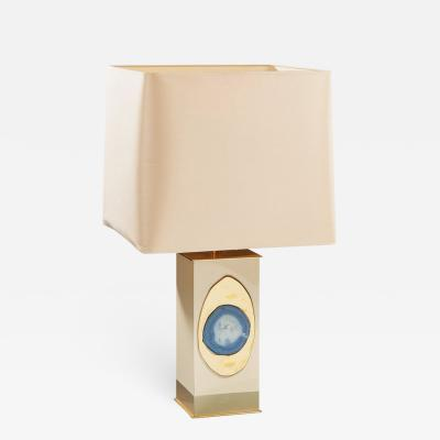 Georges Mathias Rare lamp in brass with geode inset by Georges Mathias