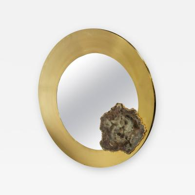 Georges Mathias Stylish acid etched brass and fossilized wood circular mirror by Georges Mathias