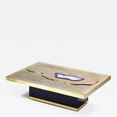 Georges Mathias T 33 Chic Brass Acid Etched Coffee Table by Georges Mathias